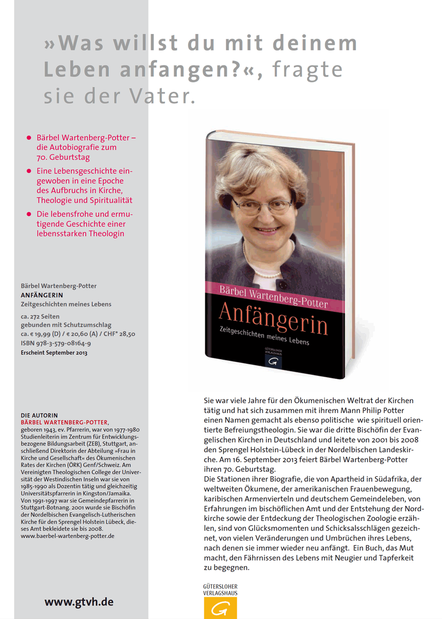 Das Buch: Anfängerin - von Bärbel Wartenberg-Potter