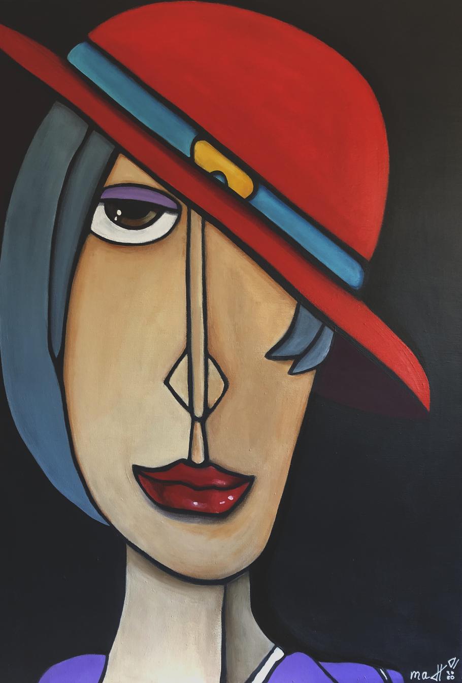 LADY WITH HAT 50 x 70 Acryl