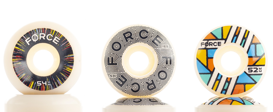 VMS Distribution Europe - Force Wheels Spring 2021 - new wheels - Force Wheels Warp 54mm conical, Linear 53mm, Glass 52mm