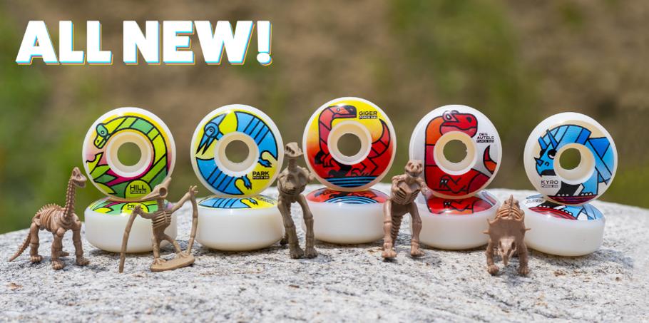 Force Wheels VMS Distribution Europe - New Wheels now available! Spring 2021 Dinosaur pro models. John Hill, Jason Park, Jonny Giger, Doug Des Autels, Aaron Kyro - European Skateboard Distribution based in Germany.