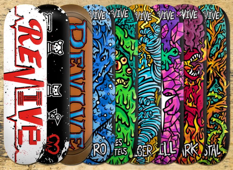 VMS Distribution Europe - Revive Skateboards Summer 2021 / former Revive Spring 2021 Product Release Skateboard Decks - Revive Ransom Lifeline, Friends Forever, The Get Together, Kyro, Des autels, Giger, Hill, Park, Vestal, Andy Schrock, Revive Skateboard
