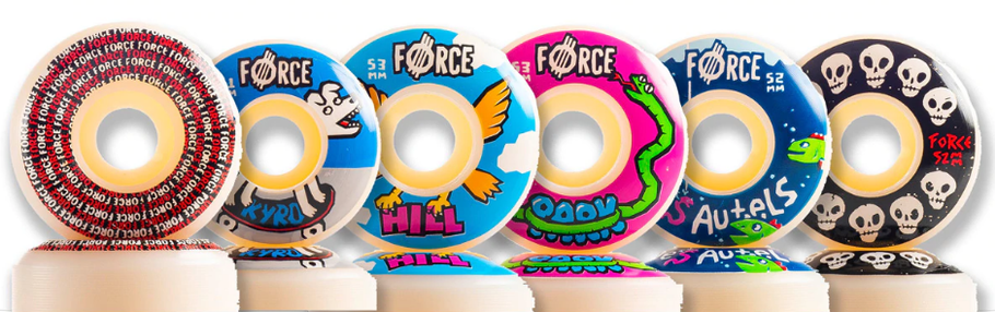 Force Wheels Winter 2020 Wheels Now Available! VMS Distribution Europe. Force Wheels - 10 Skulls 52mm - Spiral Conical 53mm - Tie Dye Slash 54mm. VMS Distribution Germany, Austria & All over Europe