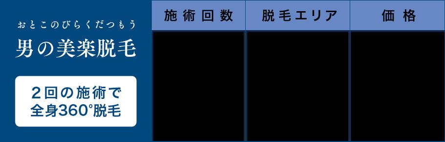 """""""美楽脱毛"""" 1ヶ月に1回・半身15,000円(税別)/月額"""