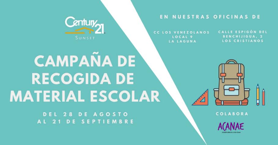 Recogida de material escolar en Tenerife de Century 21 en colaboración de ACANAE - Vuelta al cole 2018