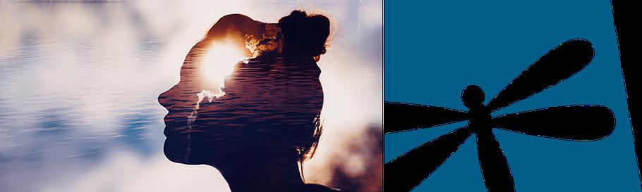 Weibliche Silhouette vor Wasser und Logo Villa Vie