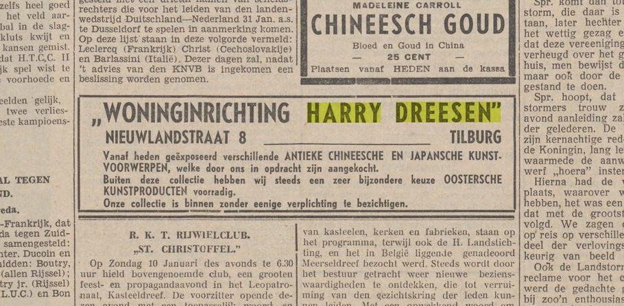 Advertentie in de Nieuwe Tilburgsche Courant - 13 Januari 1937