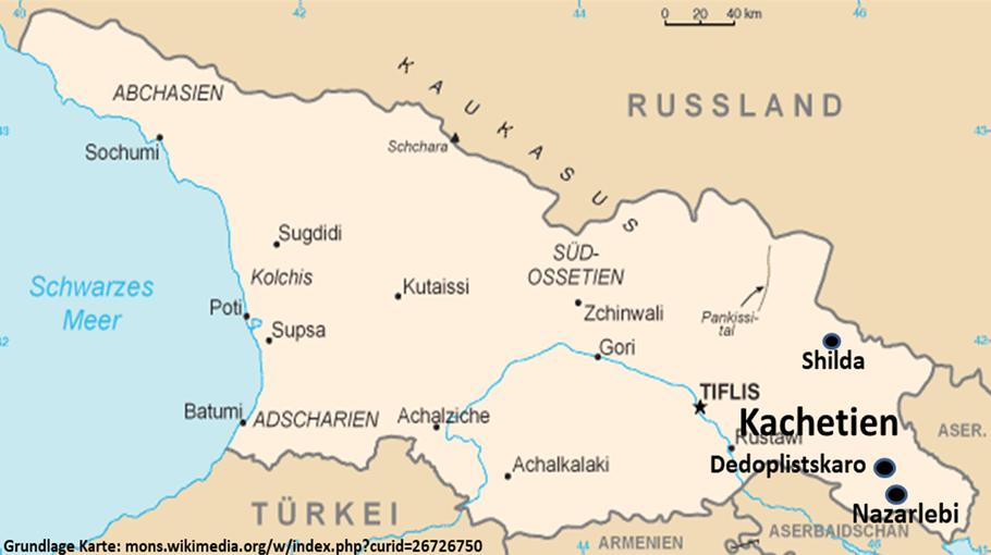U. a. Shilda Georgien (Grundlage Grundkarte: Wikipedia)