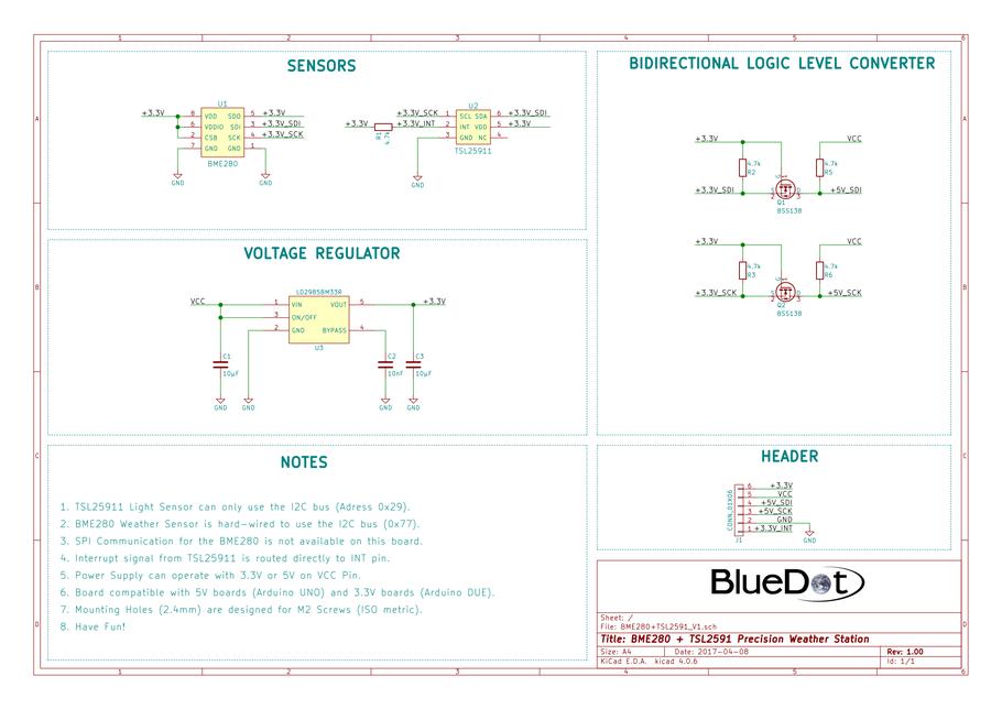 Schematics for BlueDot BME280+TSL2591 Board