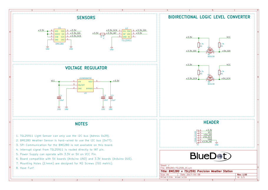 Schematics for BlueDot BME280+TSL2591 Board