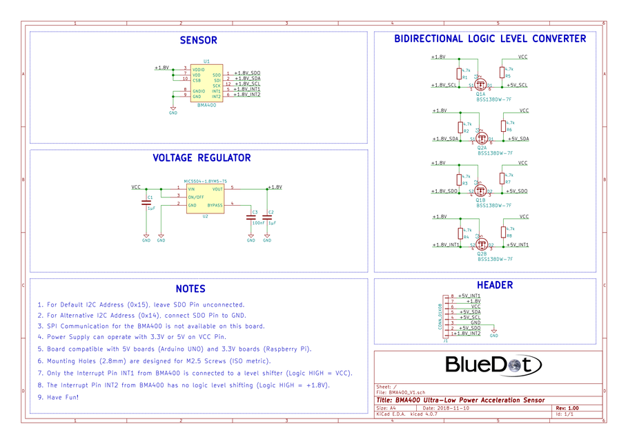 Schematics for BlueDot BME280 Board