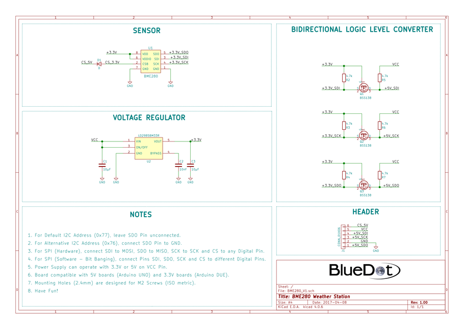 Schematics for BlueDot BME280 Board V1