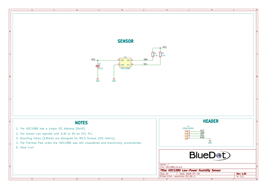 Schematics for BlueDot BME280 Board