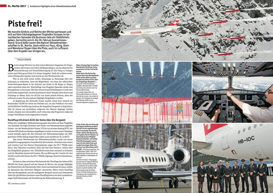 AeroRevue Beitrag über die SkiWM in St.Moritz mit Swiss und Patrouille Suisse.