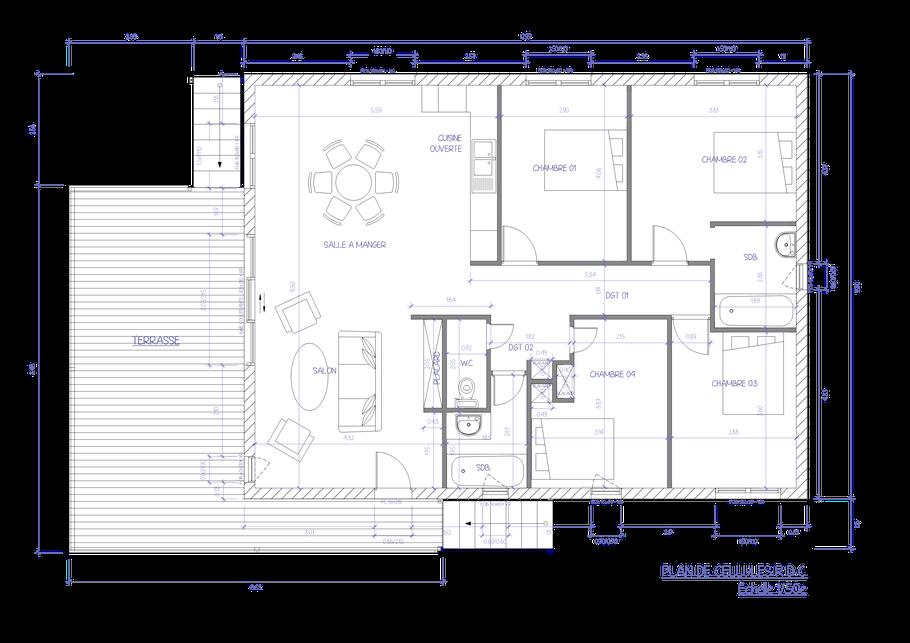 plan de cellules rez de chaussée, permis de construire, ocoeurdesplans