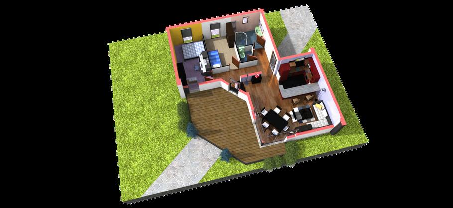 Intérieur en 3D, pour constructeur de maison
