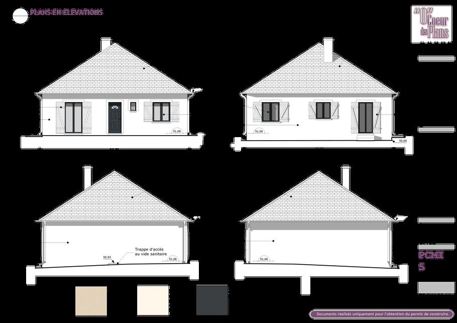 permis de construire, élévation en 3D sur Sketchup Pro 2015