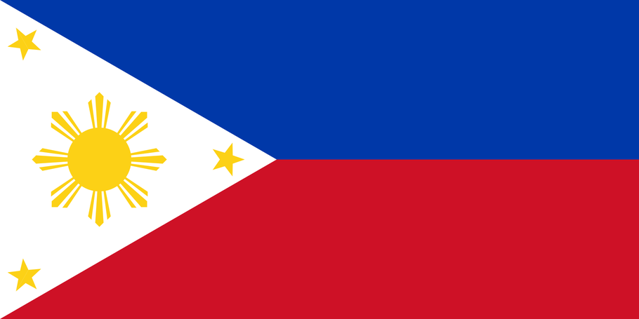 Dieses Werk wurde von seinem Urheber Achim1999 als gemeinfrei veröffentlicht. Dies gilt weltweit. Quelle: http://de.wikipedia.org/wiki/Flagge_der_Philippinen#mediaviewer/File:Flag_of_the_Philippines.svg