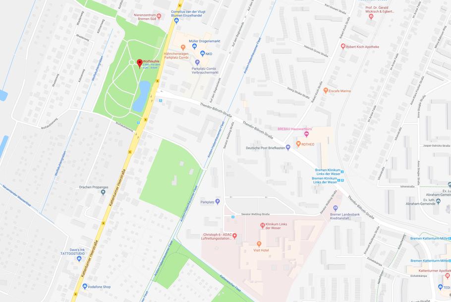 Der Wolfskuhlenpark in Bremen-Kattenturm, nur wenige hundert Meter vom Krankenhaus LdW entfernt (Quelle: Google Maps)
