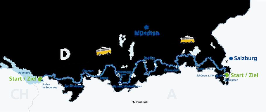 Route der deutschen Alpenstraße auf einer Karte von West nach Ost und Ost nach West