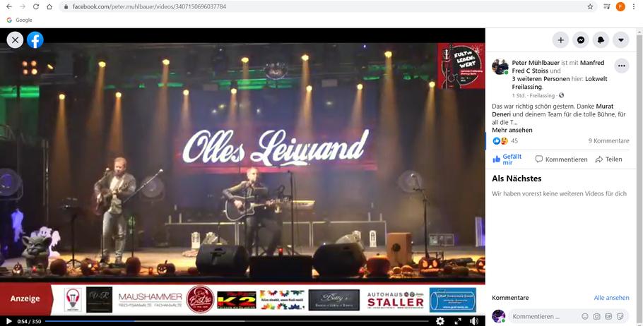 Olles Leiwand, die Austropop Band aus Bayern beim online Konzert aus der Lokwelt Freilassing