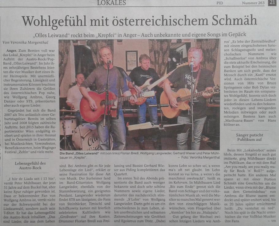Olles Leiwand, die Austropop Band aus Freilassing / Salzburg beim Krepfei in Anger mit Musik von Ambros, STS, Danzer, Fendrich