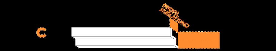 Skizze - Stuckprofil, wie es an der Decke montiert werden soll.