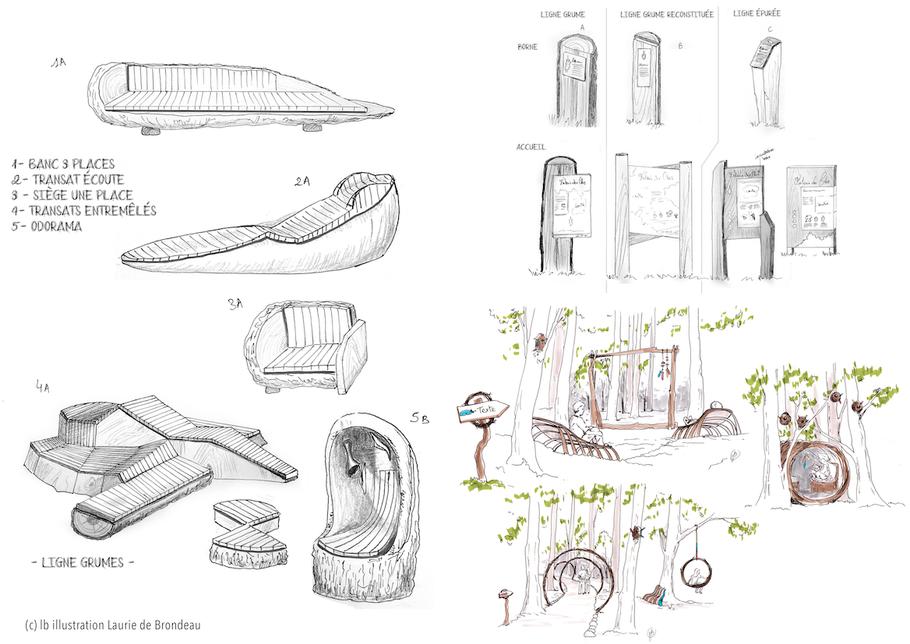 mobilier, extérieur, bois, design, nature, banc, transat, panneaux, illustrations