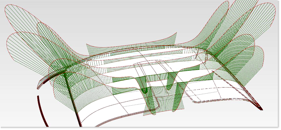 Curvature Comb over a roof panel