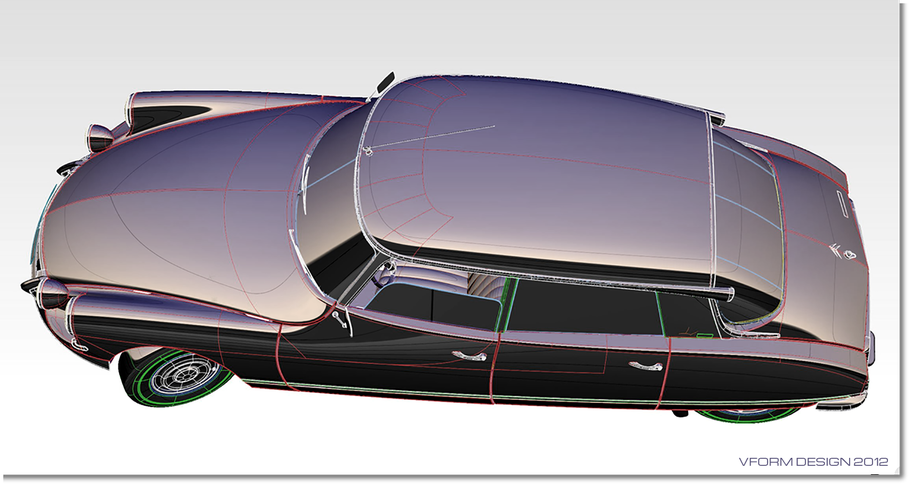 Citroen DS model in diagnostic chrome shader