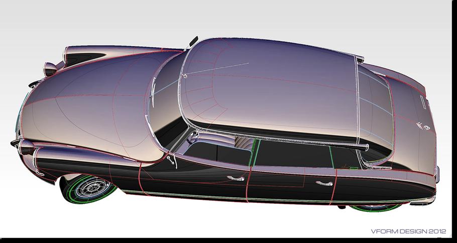 Citroen DS model in diagnostic chrome shader