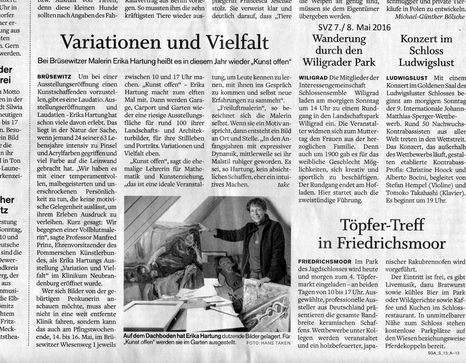 """""""Variationen und Vielfalt"""": Schweriner Volkszeitung, Mai 2016, Erika Hartung"""