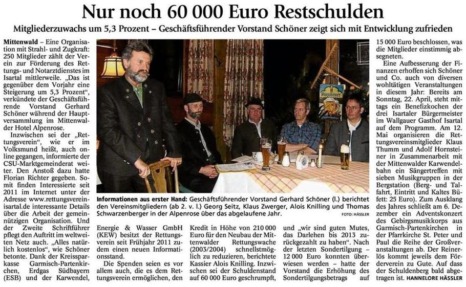 Garmischer Tagblatt 26.03.2012 - Bericht zur Jahreshauptversammlung 2012
