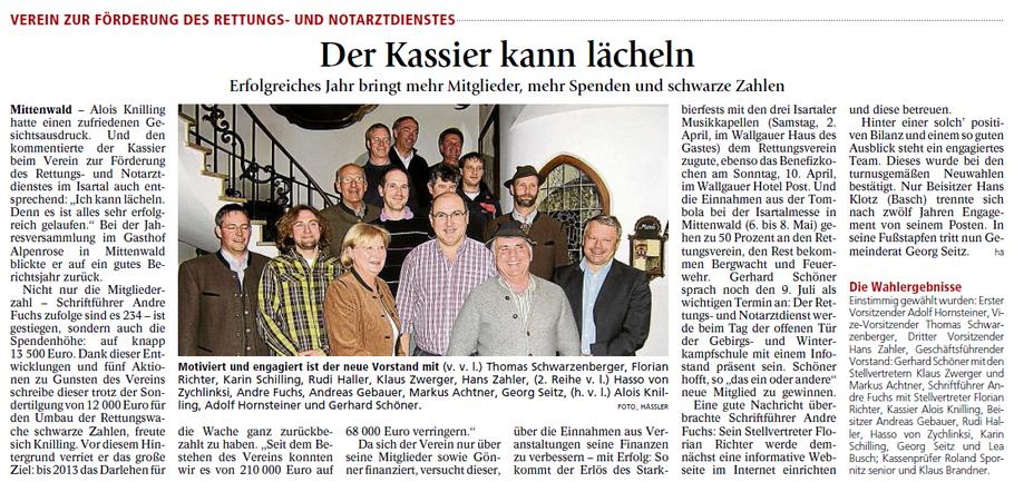 Garmisch-Partenkirchner Tagblatt vom 28.03.2011- Bericht zur Jahreshauptversammlung 2012