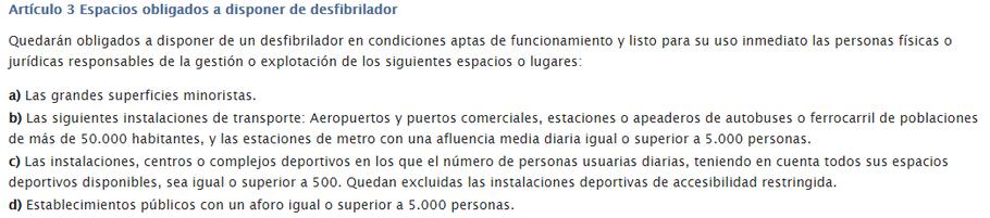 Instalaciones obligadas a tener un desfibrilador en Andalucía