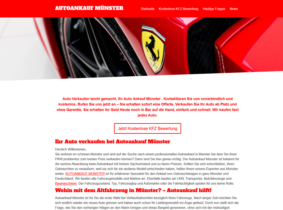 Auto Verkaufen leicht gemacht. Ihr Auto Ankauf Münster . Kontaktieren Sie uns unverbindlich und kostenlos. Rufen Sie uns jetzt an – Sie erhalten sofort eine Offerte. Verkaufen Sie Ihr Auto ab Platz und ohne Garantie. Sie erhalten ihr ..