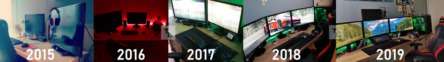 TheLukrie, Lukas Riedl, Firefighter, Designer, Gaming PC, Computer, Gaming, High End Gaming PC, Gaming Setup, HTC Vive, Setup, Hardcore Gaming Setup, 3 Monitors, History, 2015, 2016, 2017, 2018