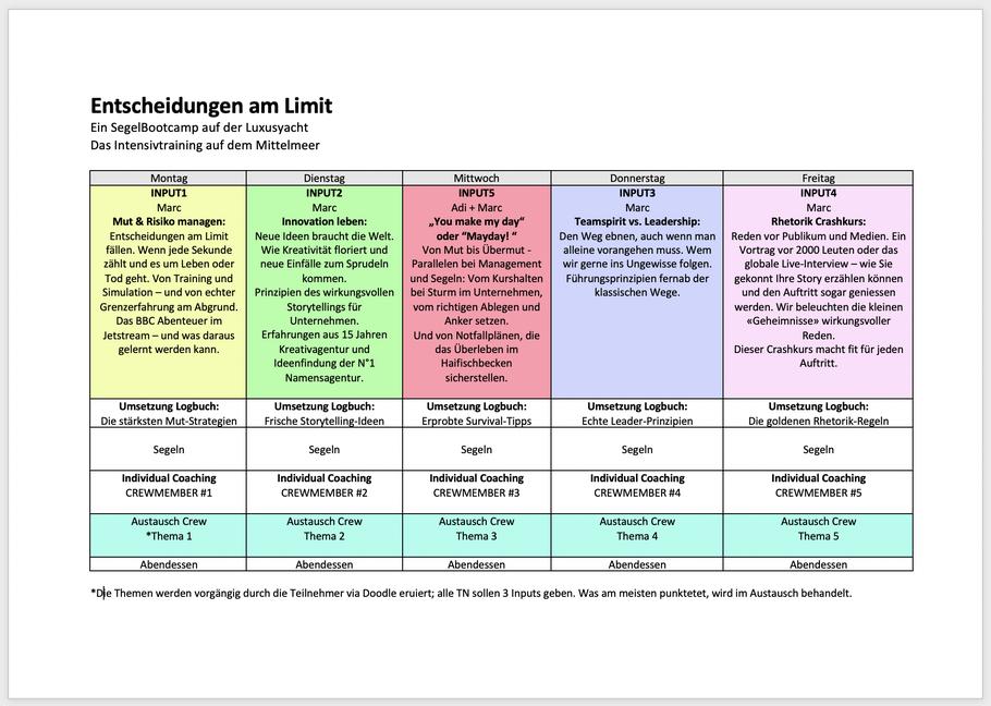 Entwurf des Seminar-Programms, Änderungen und Anpassungen vorbehalten