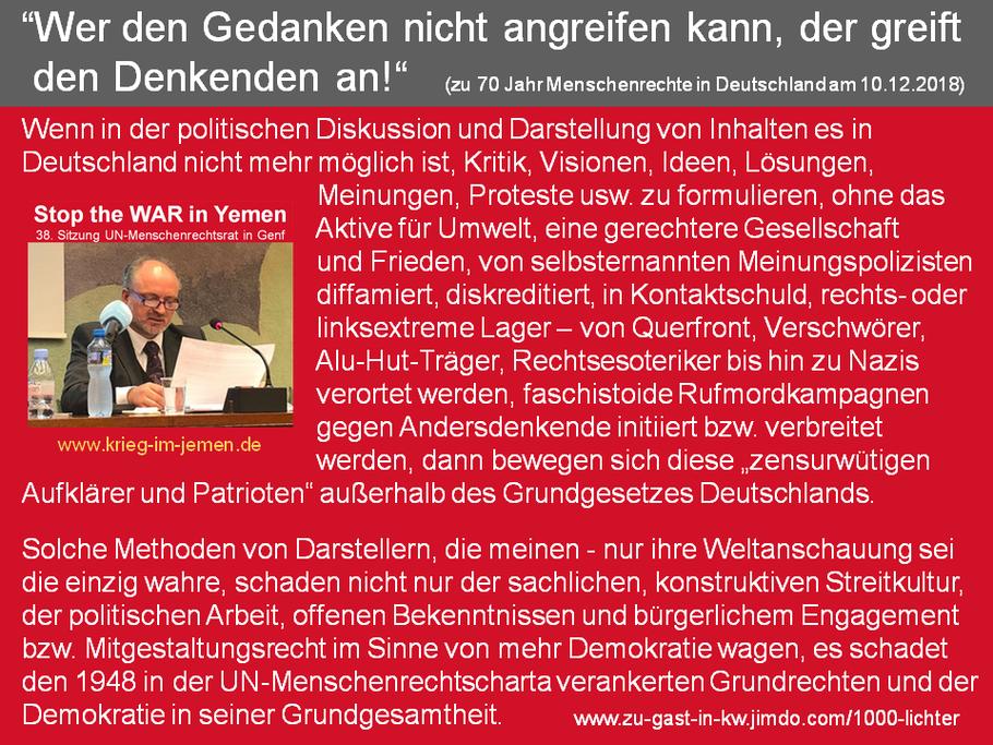 Gedanken zu 70 Jahren UN-Menschenrechte in Deutschland und 1000 Lichter für den Frieden in 100 Orten