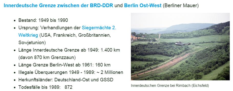Innerdeutscher Grenze  der BRD-DDR und Berlin Ost-West (Berliner Mauer)