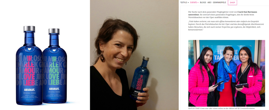 Bild: Absolut Vodka Limited Edition - a Drop of Love mit wahre Liebe Coach Susi Bartmann