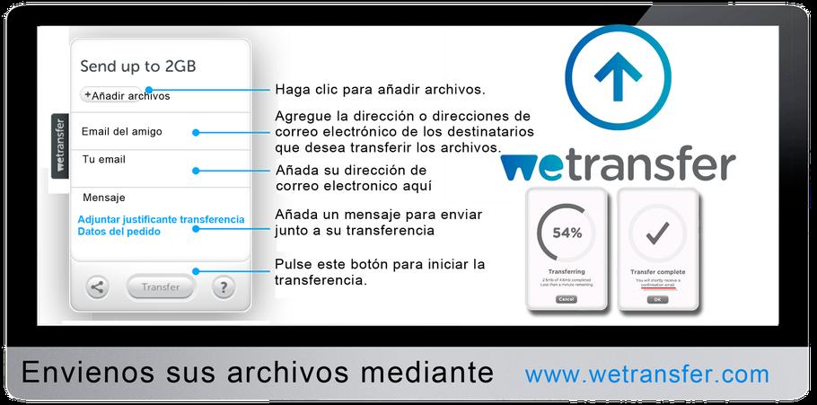 Envianos tus archivos mediante WEtransfer, junto con la referencia de abono.