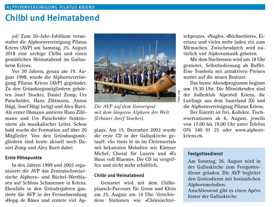 Kriens-Info, Ausgabe August 2018