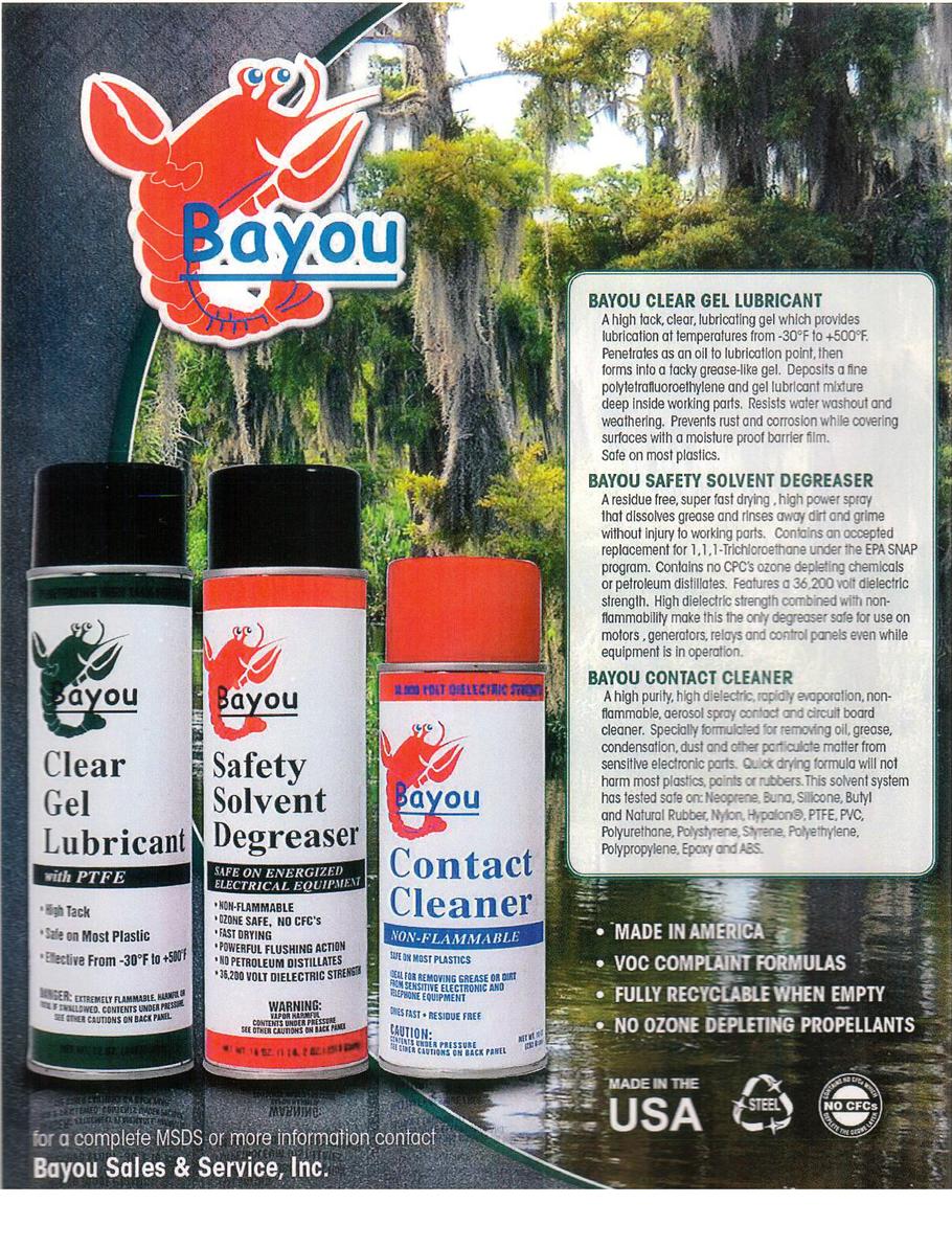 Bayou Sales And Service Inc Bayousalesandservice Aerosol Contact Circuit Board Cleaner