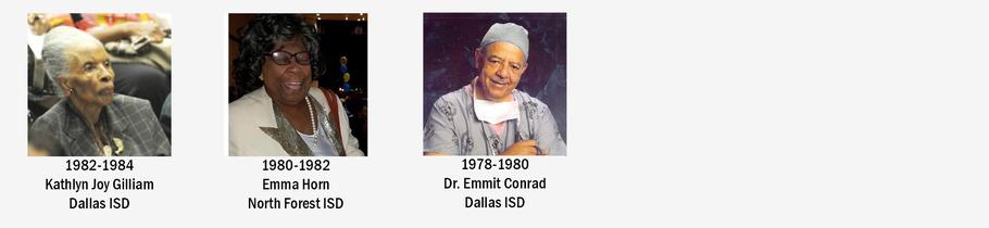 TCBSBM PAST PRESIDENTS, Lenita White 1984-1986, Kathyln Joy Gilliam 1982-1984, Emma Horn 1980-1982, Dr. Emmit Conrad 1978-1980