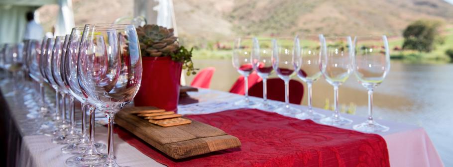 Wijnproeverij langs de rievier in Robertson, Zuid Afrika