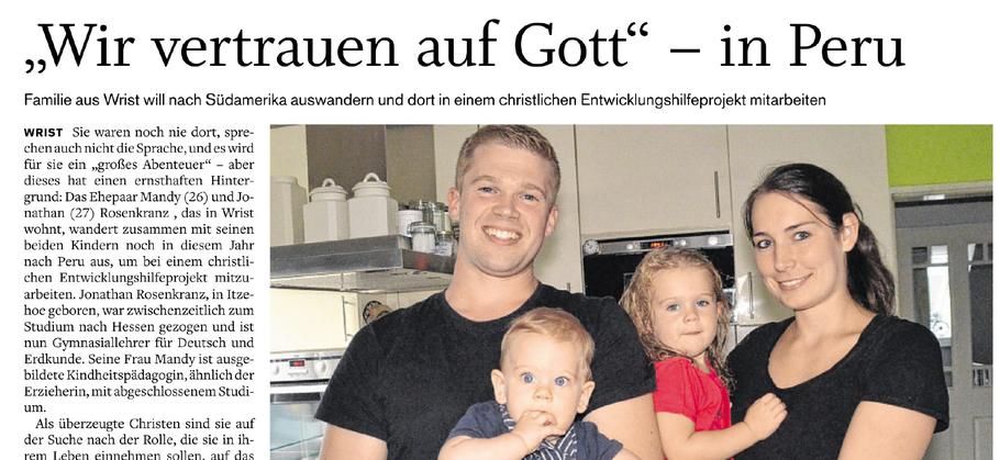Artikel in der SHZ von Ludger Hinz. Auch abrufbar unter: https://www.shz.de/lokales/norddeutsche-rundschau/wir-vertrauen-auf-gott-in-peru-id17721376.html