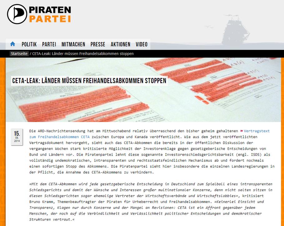 Die Piratenpartei - CETA-Leak: Länder müssen Freihandelsabkommen stoppen
