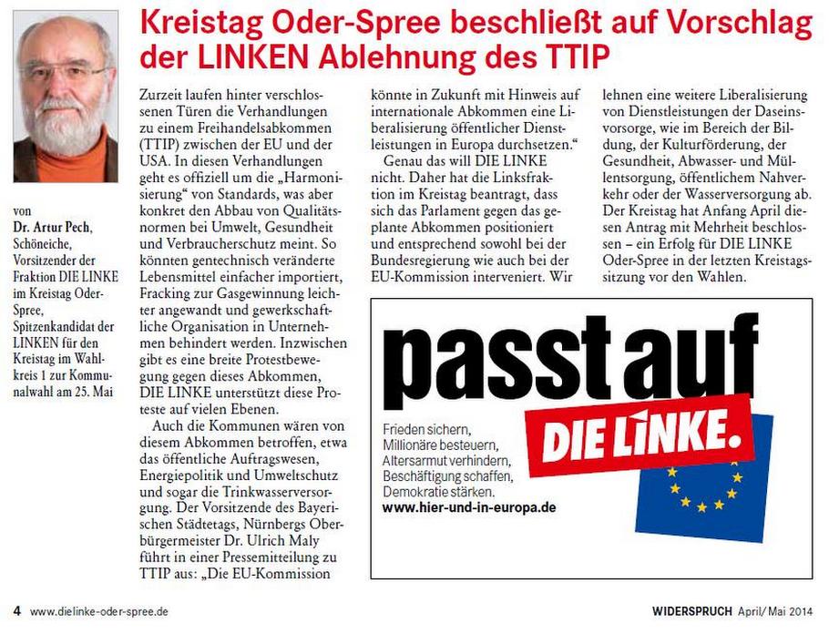 Land Brandenburg - Kreistag Oder-Spree beschließt Ablehnung TTIP