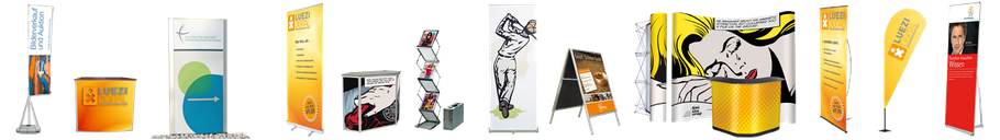 Mobile Fahnenmasten, Tresen, Pylone, Aufsteller, Prospektständer, Roll-Up, Kundenstopper, Pop Up Messewände, Beach Flags, Fahnen