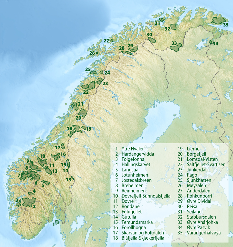 Nationalparks in Norwegen (Quelle: wikipedia)